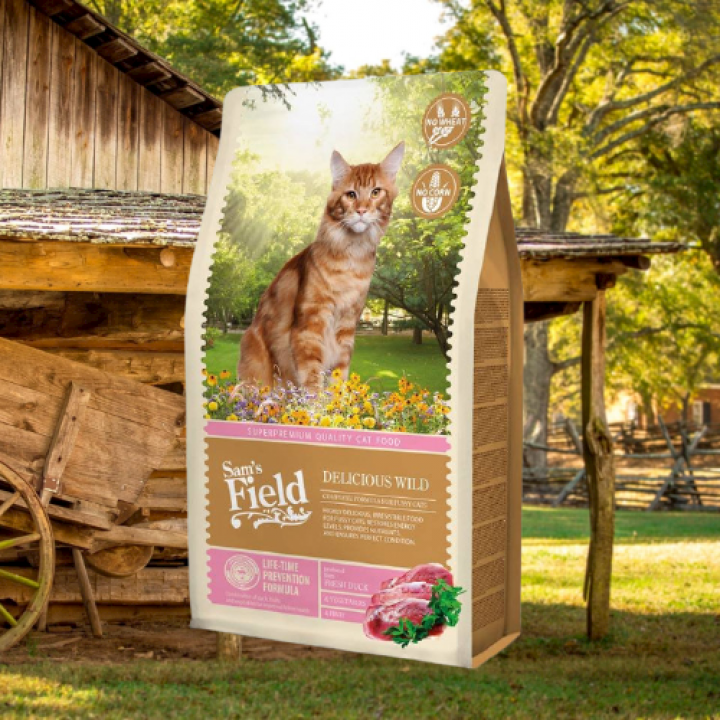 SAM'S FIELD CAT ADULT DELICIOUS WILD 7,5KG + 1 Benty Sandy Marseille Soap 5L!!!