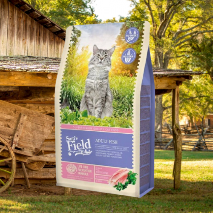SAM'S FIELD CAT ADULT FISH 7,5KG + 1 Benty Sandy Natural 5L!!!